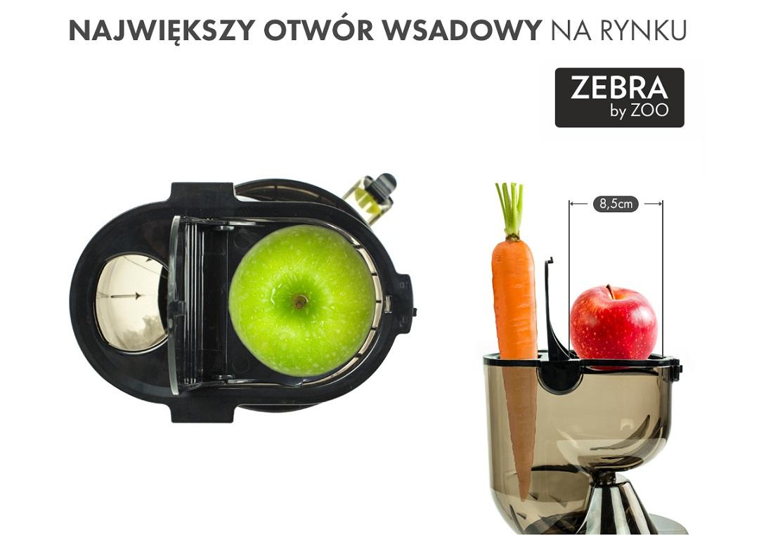 Wyciskarka Byzoo ( Zebra ) posiada otwór o średnicy 8,5 cm